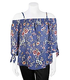 A. Byer Plus Size Floral Off-Shoulder Top