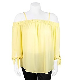 A. Byer Plus Size Off-Shoulder Peasant Top