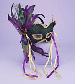 Mardi Gras Feather Couples' Mask