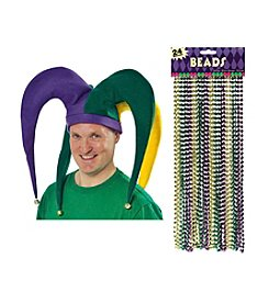 Mardi Gras Jester Hat & Beads Accessory Bundle