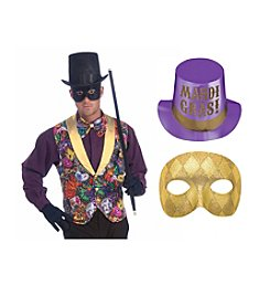 Mardi Gras Vest, Gold Mask & Top Hat Accessory Bundle