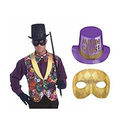 Mardi Gras Vest, Gold Mask & Top Hat Accessory Bundle