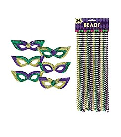 Mardi Gras Party Masks & Beads Accessory Bundle