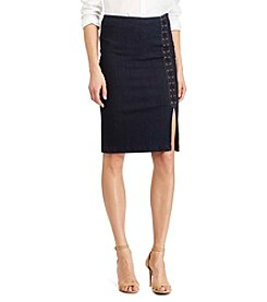 Lauren Ralph Lauren® Lace-Up Denim Pencil Skirt