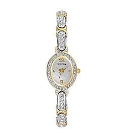 Bulova® Two Tone Crystal Bracelet Watch