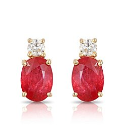 Effy® 14K Yellow Gold Diamond And Natural Ruby Earrings