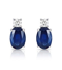 Effy® 14K White Gold Diamond And  Natural Sapphire Earrings