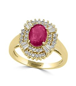 Effy® 14K Yellow Gold Diamond And Natural Mozambique Ruby Ring