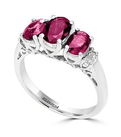 Effy® 14K White Gold Diamond And Natural Ruby Ring