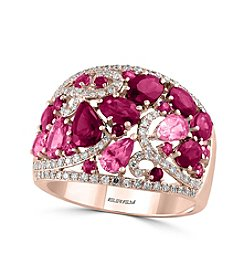 Effy® 14K Rose Gold Diamond, Pink Sapphire And Natural Ruby Ring
