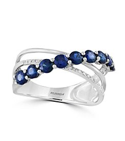 Effy® 14K White Gold Diamond And Natural Sapphire Ring