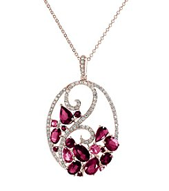 Effy® 14K Rose Gold Diamond, Pink Sapphire And Natural Ruby Pendant