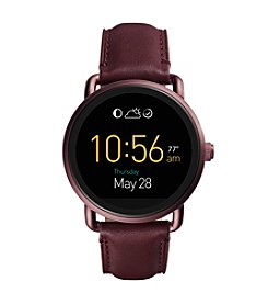 Fossil® Wander Touchscreen Smartwatch With Leather Strap