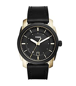 Fossil® Men's Machine Watch With Leather Strap