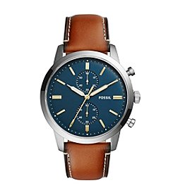 Fossil® Men's Townsman Chronograph Watch With Leather Strap