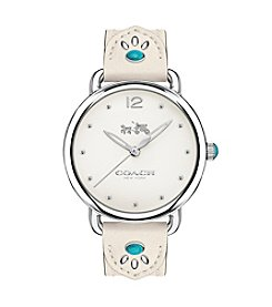COACH DELANCEY STAINLESS STEEL STUDDED LEATHER STRAP WATCH