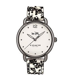 COACH DELANCEY STAINLESS STEEL PYTHON LEATHER STRAP WATCH