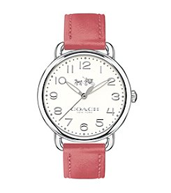 COACH DELANCEY STAINLESS STEEL SUNRAY DIAL LEATHER STRAP WATCH