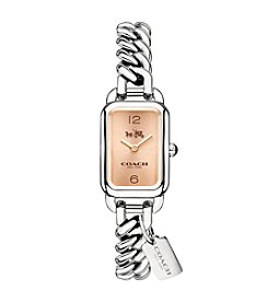 COACH LUDLOW STAINLESS STEEL SUNRAY DIAL CHAIN LINK BRACELET WATCH