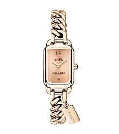 COACH LUDLOW CARNATION GOLDTONE SUNRAY DIAL CHAIN LINK BRACELET WATCH