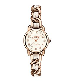 COACH DELANCEY ROSE GOLD TONE CHAIN WOVEN LEATHER STRAP WATCH