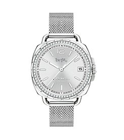 COACH TATUM STAINLESS STEEL SET MESH BRACELET WATCH