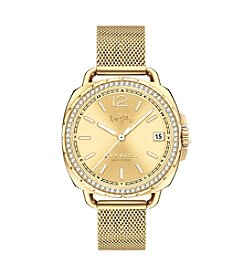 COACH TATUM GOLD TONE SET MESH BRACELET WATCH