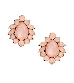 Erica Lyons® Making Me Blush Button Clip Earrings