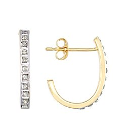 Diamond Mystique® 18K Gold Over Sterling Silver J Hoop Earrings