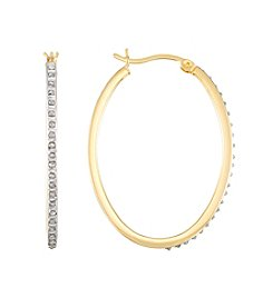 Diamond Mystique® Oval Hoop Earrings