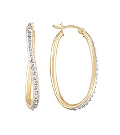 Diamond Mystique® Diamond Trimmed Oval Twist Hoop Earrings
