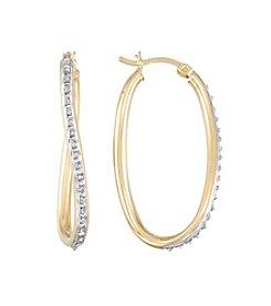 Diamond Mystique® Diamond Trimmed Oval Twist Hoop Earrings