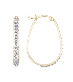 Diamond Mystique® Diamond Accented Elongated Oval Hoop Earrings