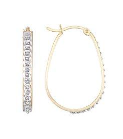 Diamond Mystique® Diamond Accented Elongated Oval Hoop Earrings