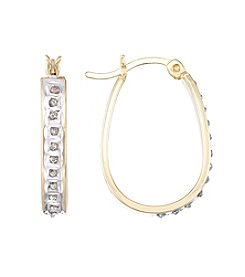 Diamond Mystique® Diamond Accented Oval Hoop  Earrings