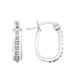 Diamond Mystique® Small Diamond Accent Oval Hoop  Earrings