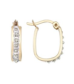 Diamond Mystique® Small Diamond Accented Oval Hoop  Earrings