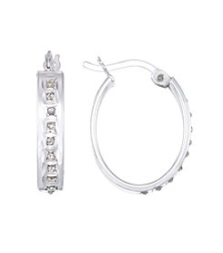 Diamond Mystique® Diamond Studded Oval Hoop Earrings