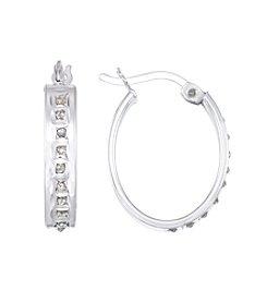 Diamond Mystique® Diamond Studded Oval Hoop Earrings