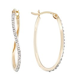 Diamond Mystique® Diamond Studded Oval Twist Hoop Earrings