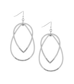 Jessica Simpson Layered Hoop Drop Earrings