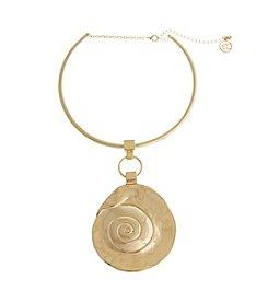 Erica Lyons® Choker Swirl Disk Pendant Necklace