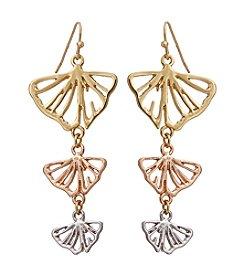 Erica Lyons® Petal To The Metal Triple Drop Leaf Pierced Earrings