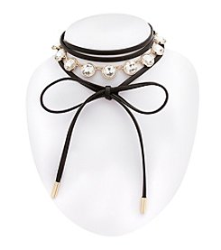 Erica Lyons® Choker Wrap Around Simulated Crystal Front Necklace