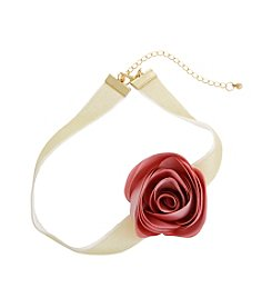 Erica Lyons® Choker Fabric Flower Necklace