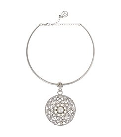Erica Lyons® Simulated Pearl Pendant Choker Necklace