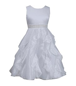 Bonnie Jean Girls' 7-12 Satin Bodice W Beaded Waist & Cascade Organza Skirt