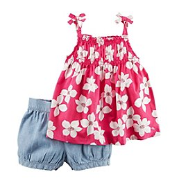 Carter's® Baby Girls' Floral Tank And Denim Shorts Set