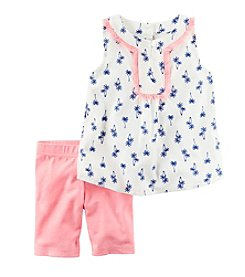 Carter's® Baby Girls' Palm Print Tank And Bike Shorts Set