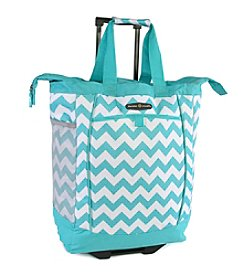 Pacific Coast® Chevron Teal Rolling Shopping Tote Bag